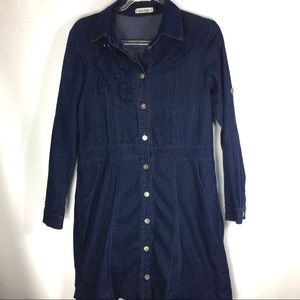 New Light Denim Shirt Dress Embroidered dark wash